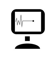 Pulse graph on monitor icon simple style vector image