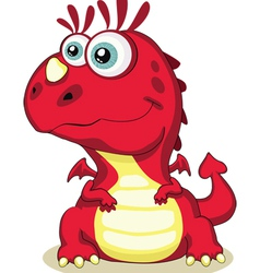 red cartoon dragon isolated eps 8 5000x6215 vector image vector image