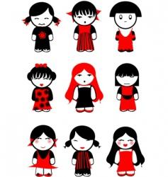 girl dolls vector image vector image