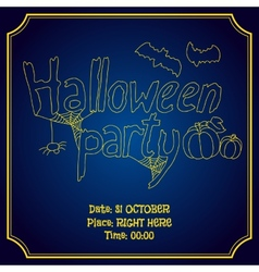 Halloween party poster with pumpkin and bats vector image
