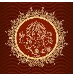 Lord Ganesha sunburst vector image vector image