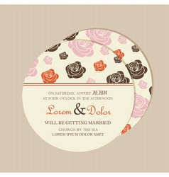 round invitation with roses vector image