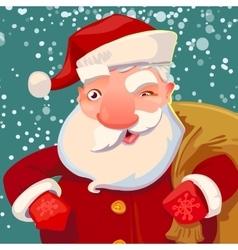 Cute Santa on snow backdrop vector image