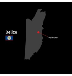 Detailed map of Belize and capital city Belmopan vector image