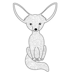 fennec fox coloring book for adults vector image vector image