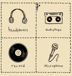 music equipment doodles set vector image vector image