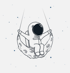 spaceman sits on the crescent moon vector image