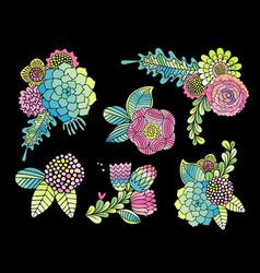 Succulent rose and leaf flower set vector