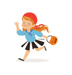 sweet little girl in halloween costume running vector image