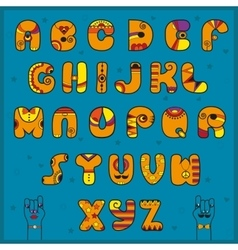 Alphabet with Indian style Funny orange font vector image vector image