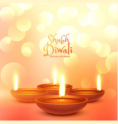 beautiful diwali festival greeting with light vector image