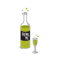 Bottle of green liquid and wineglass drawing vector
