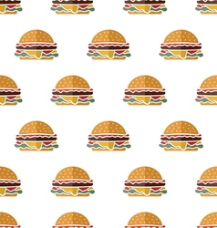 Flat hamburger seamless pattern vector image