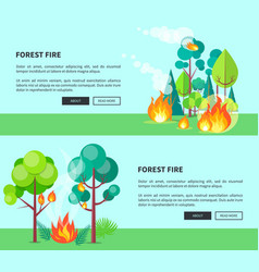 forest fire set of cartoon posters with text vector image