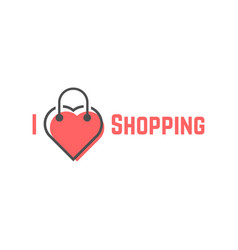 i love shopping with bag like heart vector image vector image