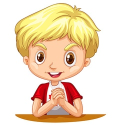 Little boy with blond hair vector image vector image