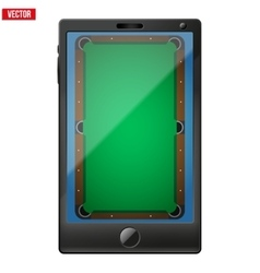 Smartphone with a billiard field on the screen vector image