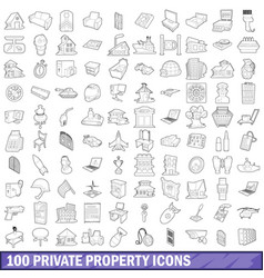 100 private property icons set outline style vector image