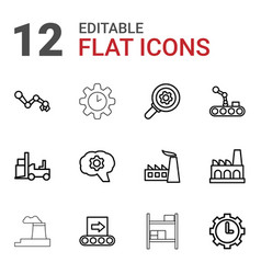 12 factory icons vector