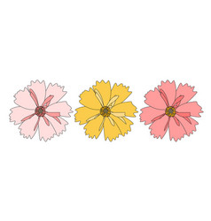 abstract hand drawn flower on white background vector image