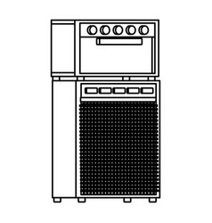 Amplifier equipment icon black and white vector