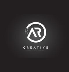 Ar circular letter logo with circle brush design vector