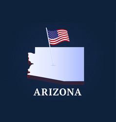 Arizona state isometric map and usa natioanl flag vector