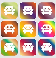Armchair icon sign Nine buttons with bright vector image