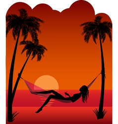 Beautiful girl relaxing in hammock vector