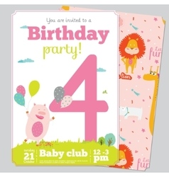 Birthday Party Invitation card template with cute vector