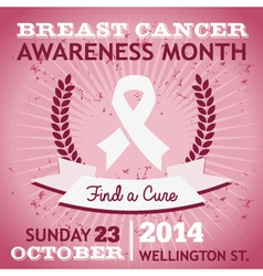 Breast Cancer Ribbon Awareness Poster vector