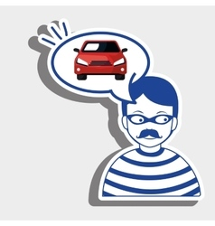 Burglar criminal car icon vector