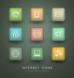 Buttons Internet Icons for social network vector image