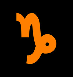 Capricorn sign orange icon on black vector