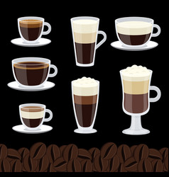 cartoon cups set coffee collection vector image