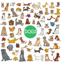 Cartoon dog characters large collection vector