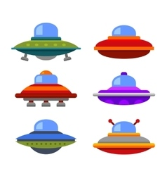 Cartoon Flat Style Ufo Spaceship Icon Set vector image