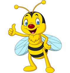 Cartoon happy bee giving thumbs up vector