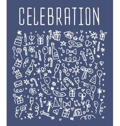 Celebration happy birthday doodles elements vector image