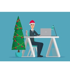 Christmas tree Business man sitting at the table vector image
