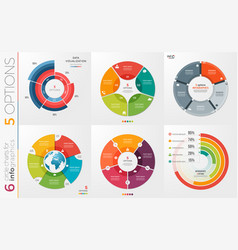 Collection 6 circle chart templates vector