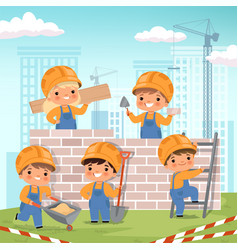 construction background little kids making some vector image