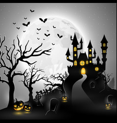 creepy graveyard with castle and pumpkins vector image
