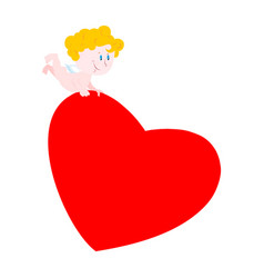 Cupid and heart cute little angel carries love vector