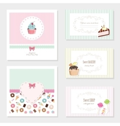 Cute card templates set with sweets vector image