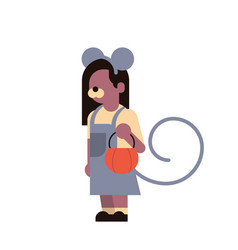 cute girl wear mouse costume happy halloween vector image