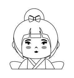 Cute japanese girl icon vector