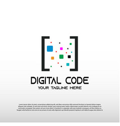 Digital code logo with pixel concept barcode vector