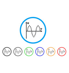 dotted sinusoid plot rounded icon vector image