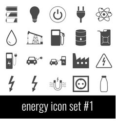 energy icon set 1 gray icons on white background vector image